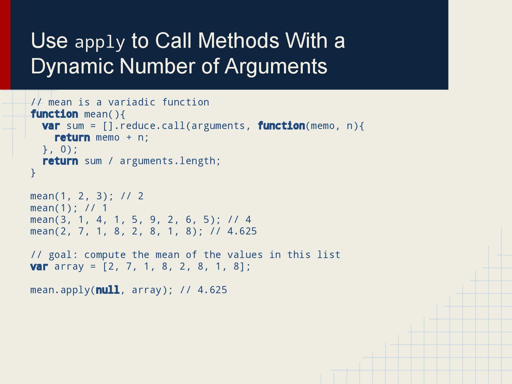 Use apply to Call Methods With a Dynamic Number...