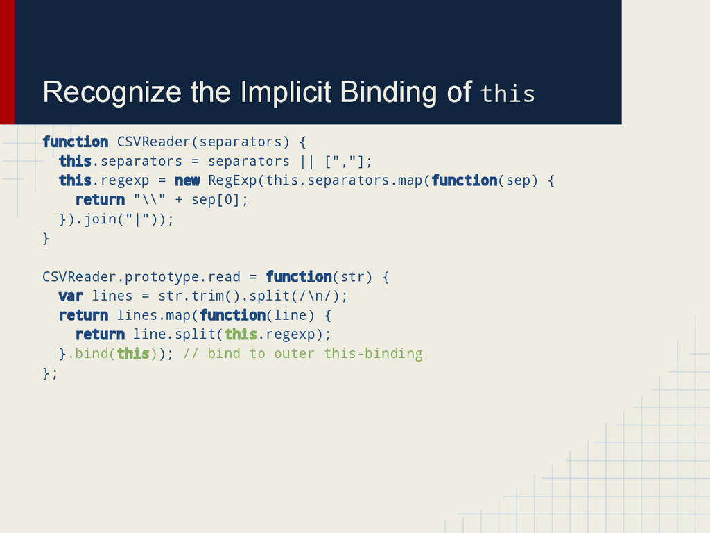 Recognize the Implicit Binding of this function...