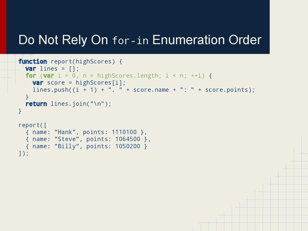 Do Not Rely On for-in Enumeration Order functio...