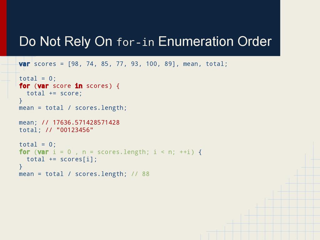 Do Not Rely On for-in Enumeration Order var sco...