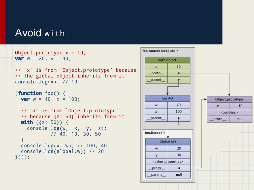 Avoid with Object.prototype.x = 10; var w = 20,...