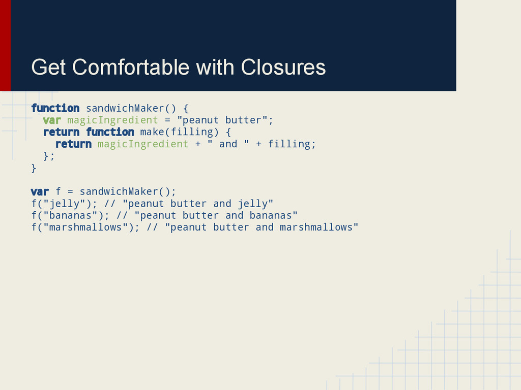 Get Comfortable with Closures function sandwich...