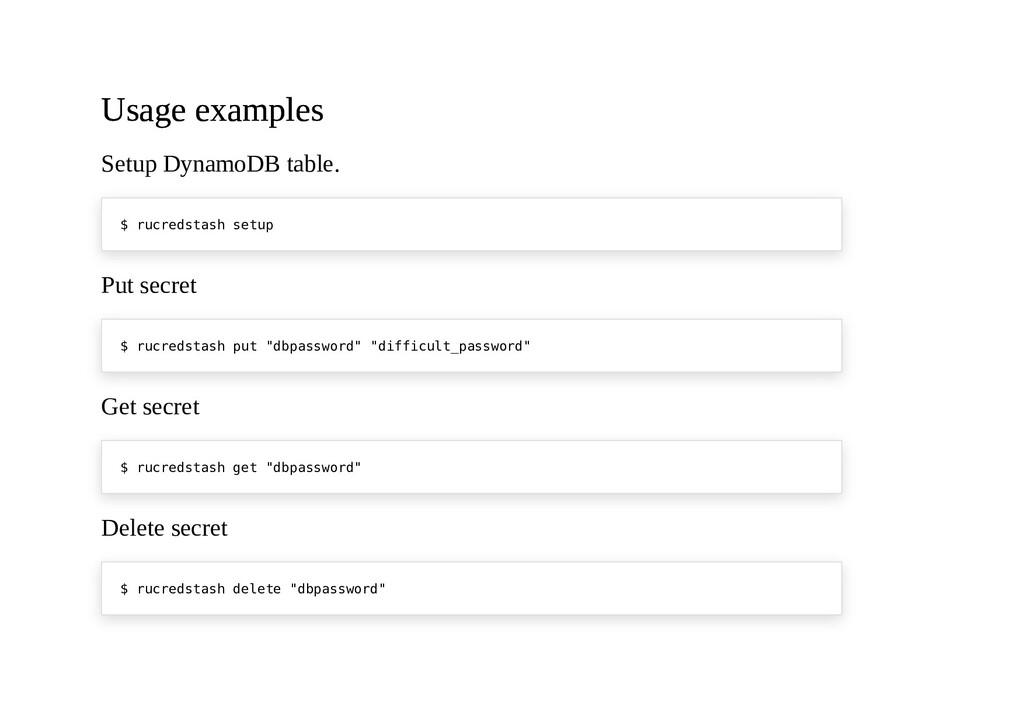 Usage examples Usage examples Setup DynamoDB ta...