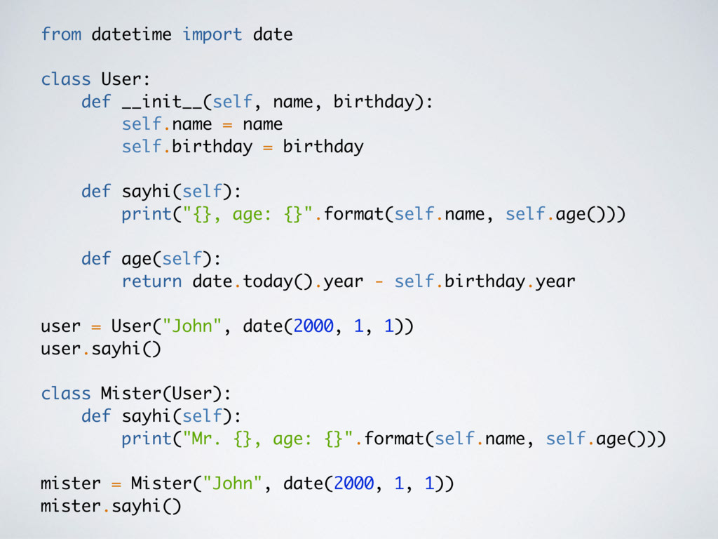 from datetime import date class User: def __ini...