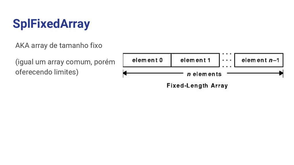SplFixedArray AKA array de tamanho fixo (igual ...