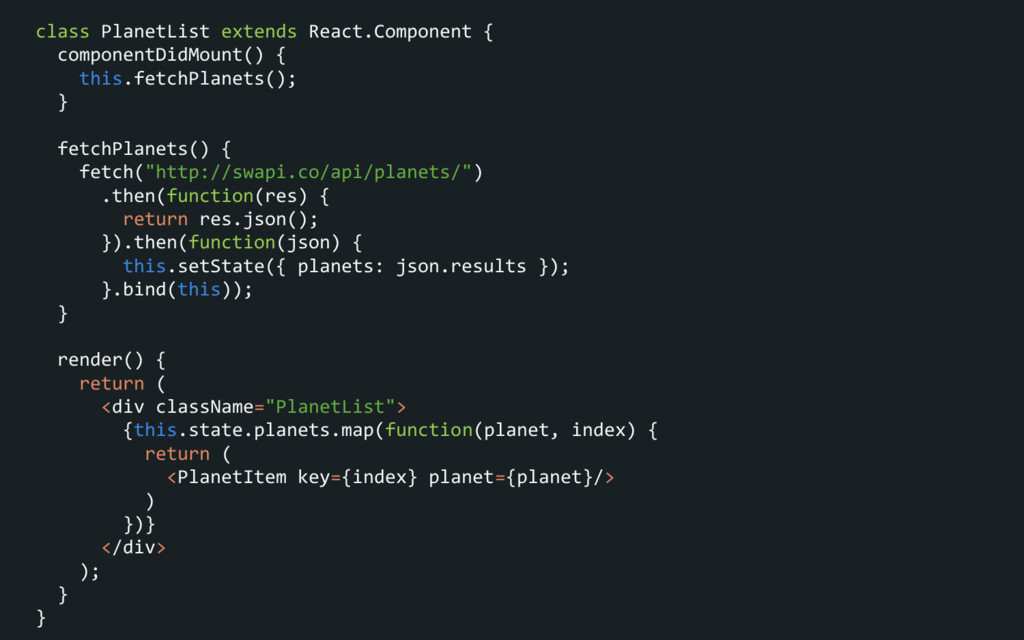 class PlanetList extends React.Component { comp...