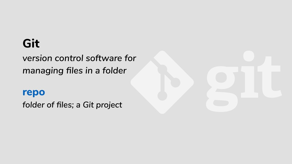 repo folder of files; a Git project Git version ...