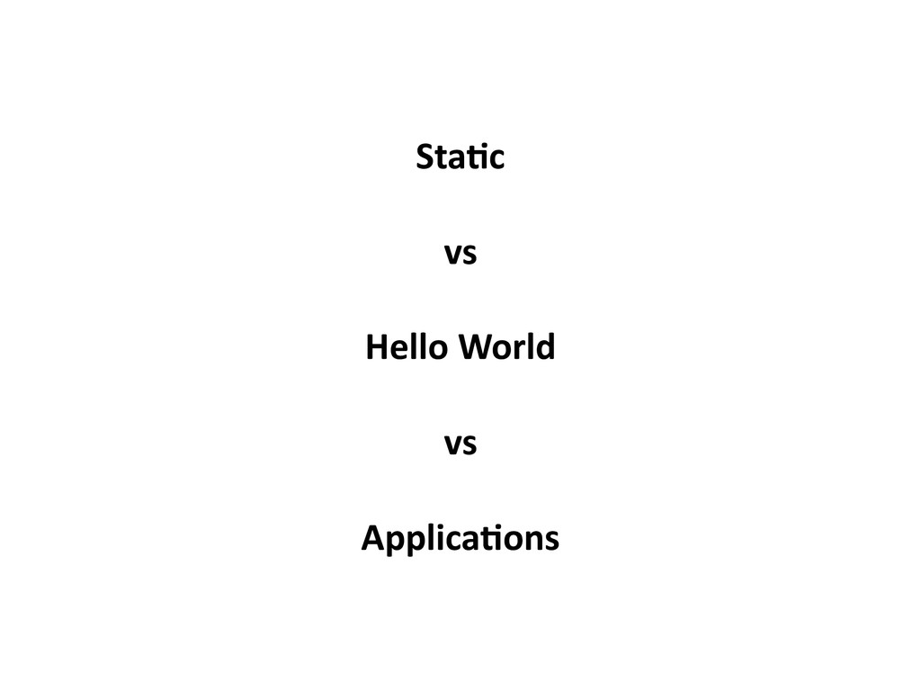 Sta-c vs Hello World vs Applica-ons