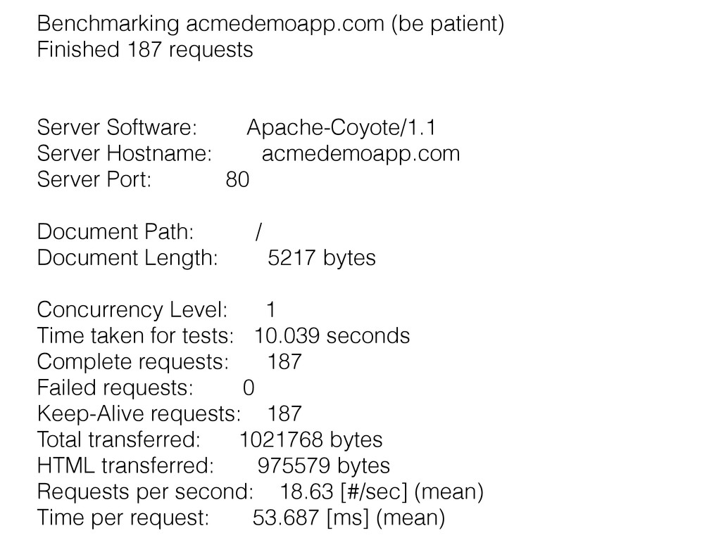 Benchmarking acmedemoapp.com (be patient) Finis...