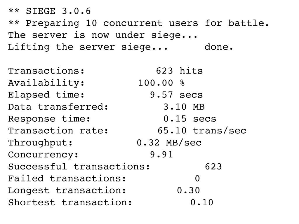** SIEGE 3.0.6 ** Preparing 10 concurrent users...