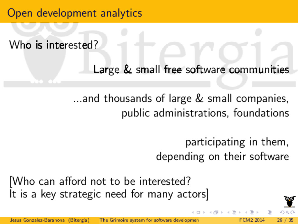 Open development analytics Who is interested? L...