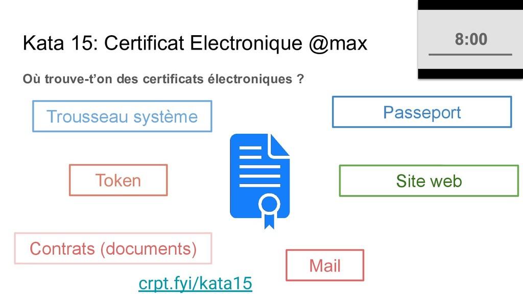 Kata 15: Certificat Electronique @max Où trouve...