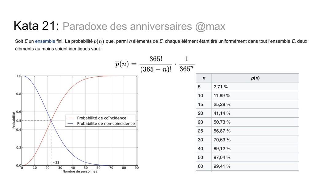 Kata 21: Paradoxe des anniversaires @max