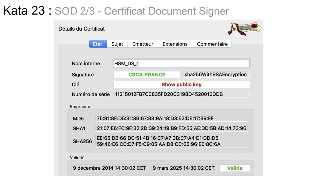 Kata 23 : SOD 2/3 - Certificat Document Signer