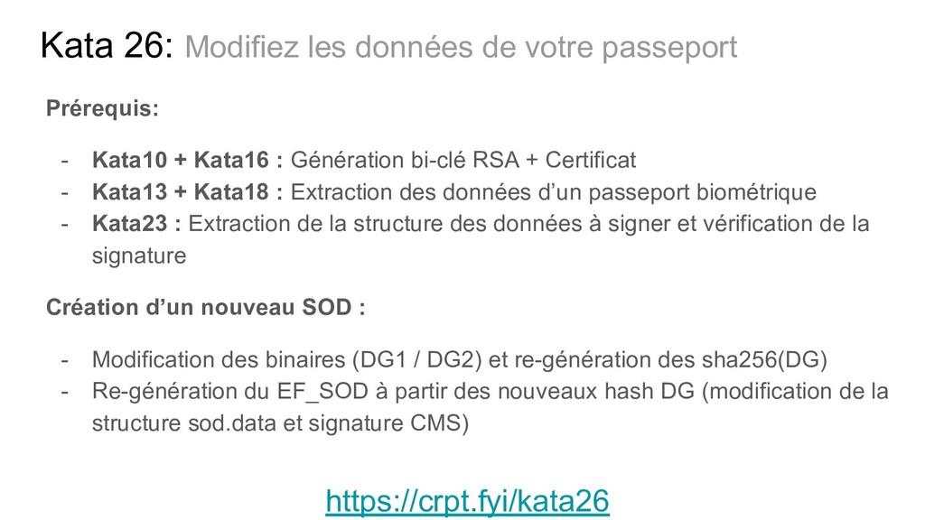 Kata 26: Modifiez les données de votre passepor...