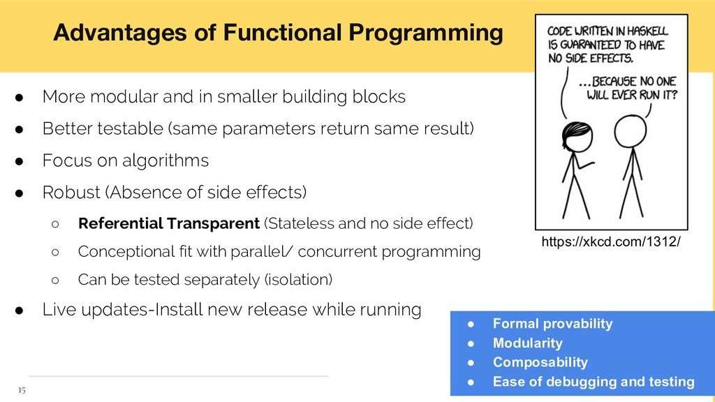 Advantages of Functional Programming ● More mod...
