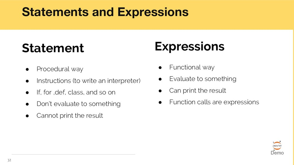 Statements and Expressions 32 Statement ● Proce...