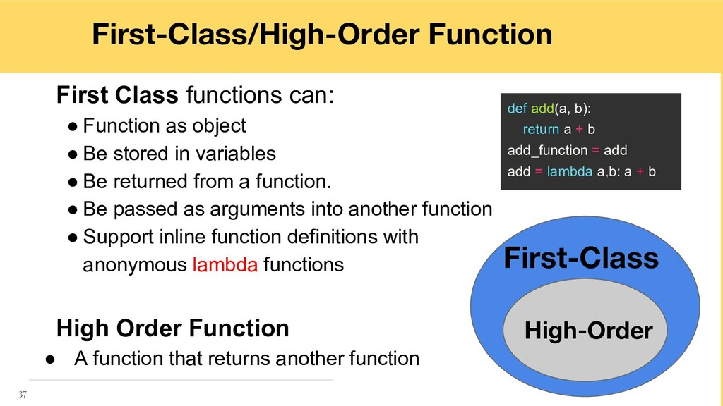 First Class functions can: ● Function as object...