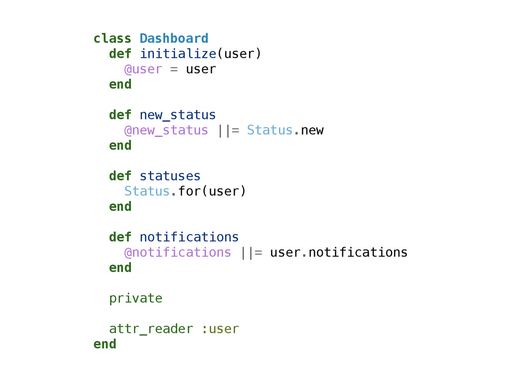 class Dashboard def initialize(user) @user = us...