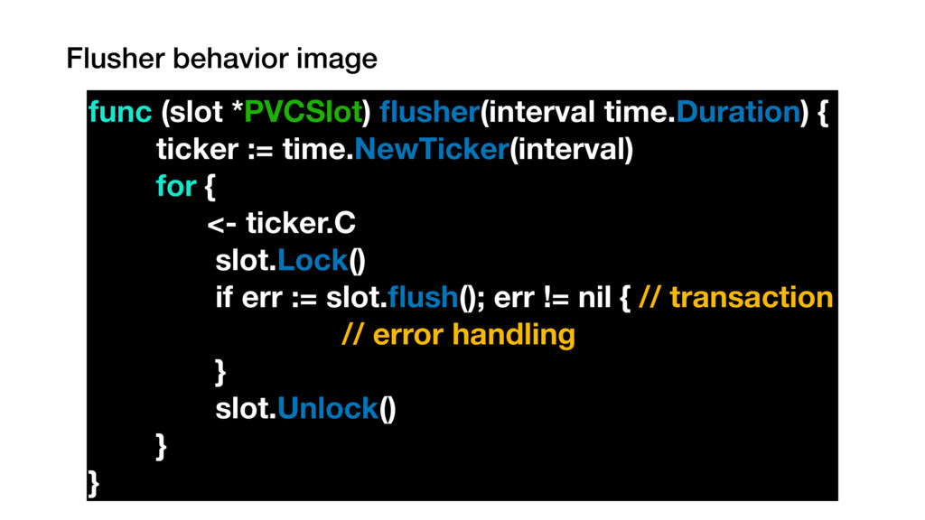 Flusher behavior image func (slot *PVCSlot) flus...