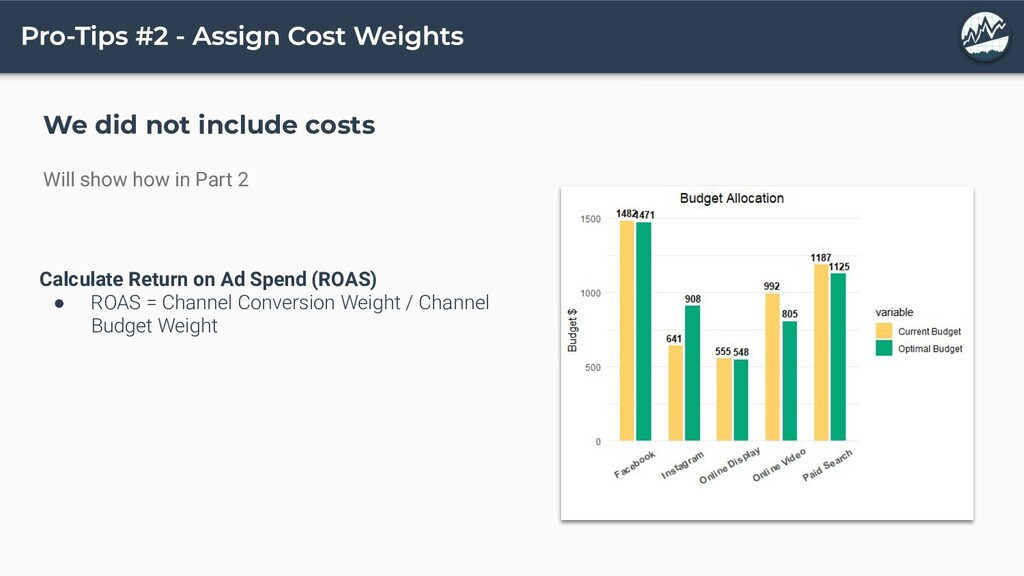 We did not include costs Will show how in Part ...