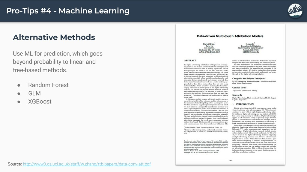 Alternative Methods Use ML for prediction, whic...