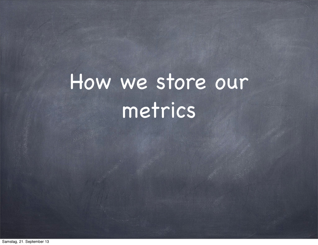 How we store our metrics Samstag, 21. September...