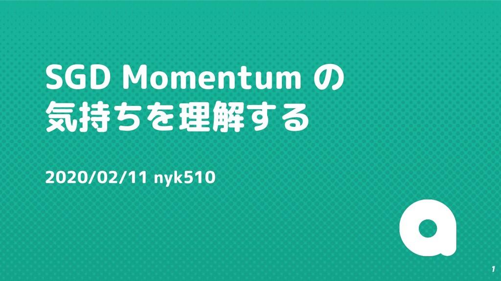 1 SGD Momentum の 気持ちを理解する 2020/02/11 nyk510