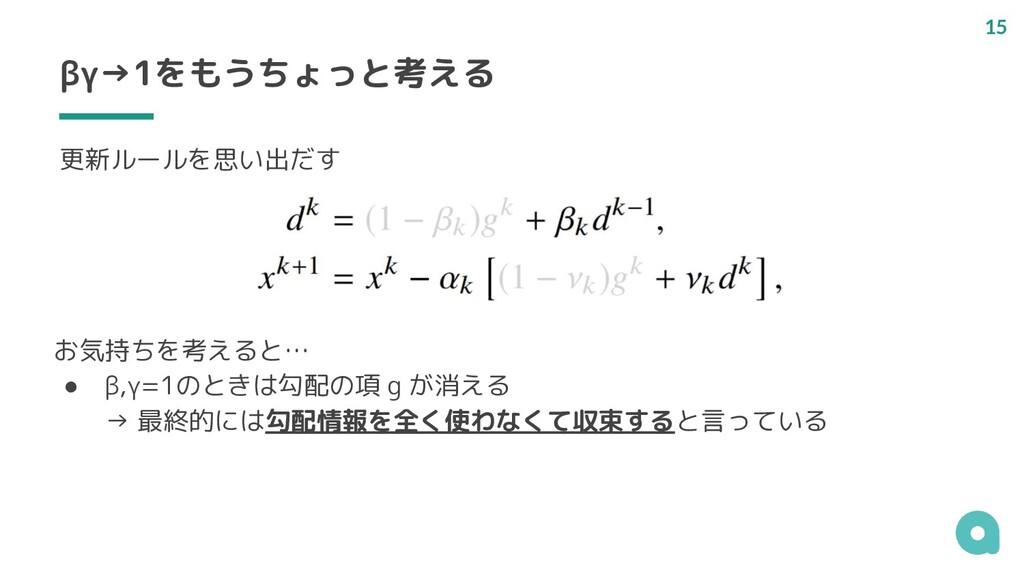 βγ→1をもうちょっと考える お気持ちを考えると… ● β,γ=1のときは勾配の項 g が消え...