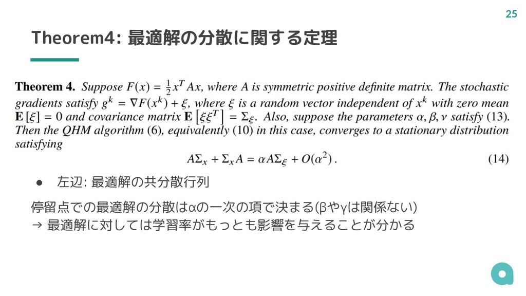 Theorem4: 最適解の分散に関する定理 ● 左辺: 最適解の共分散行列 停留点での最適解...