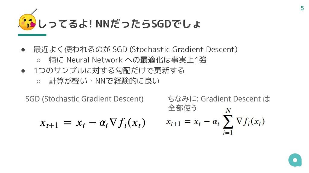しってるよ! NNだったらSGDでしょ ● 最近よく使われるのが SGD (Stochasti...