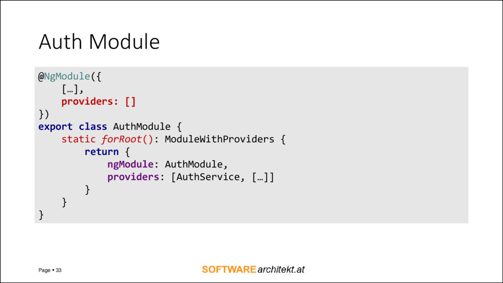 Auth Module Page  33 @NgModule({ […], provider...