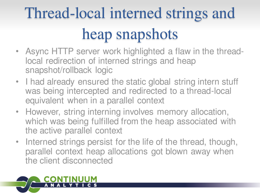 Thread-local interned strings and heap snapshot...