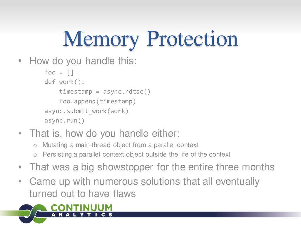 Memory Protection • How do you handle this: foo...