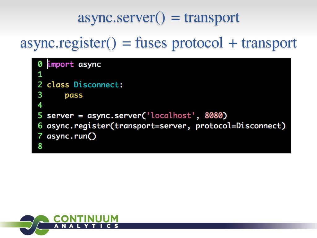 async.server() = transport async.register() = f...