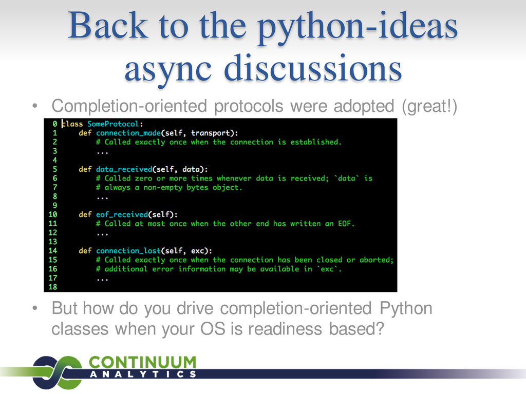 Back to the python-ideas async discussions • Co...