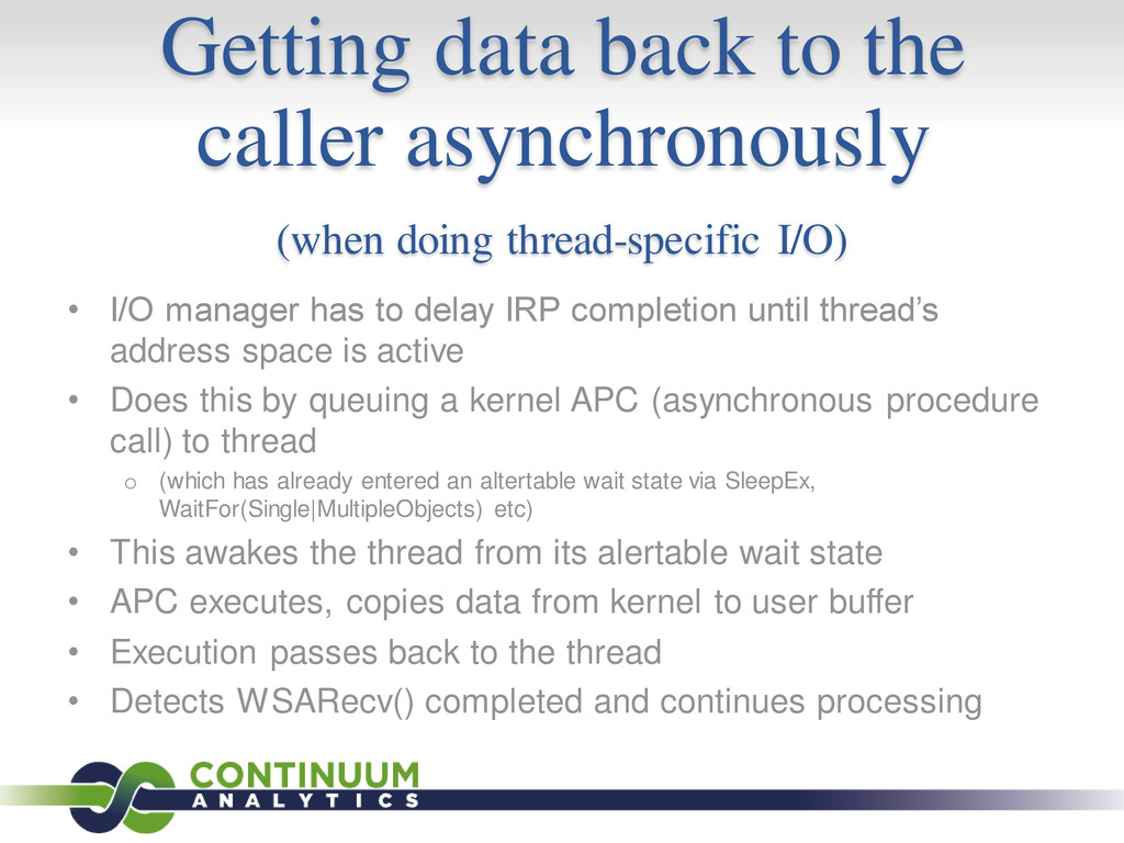 Getting data back to the caller asynchronously ...