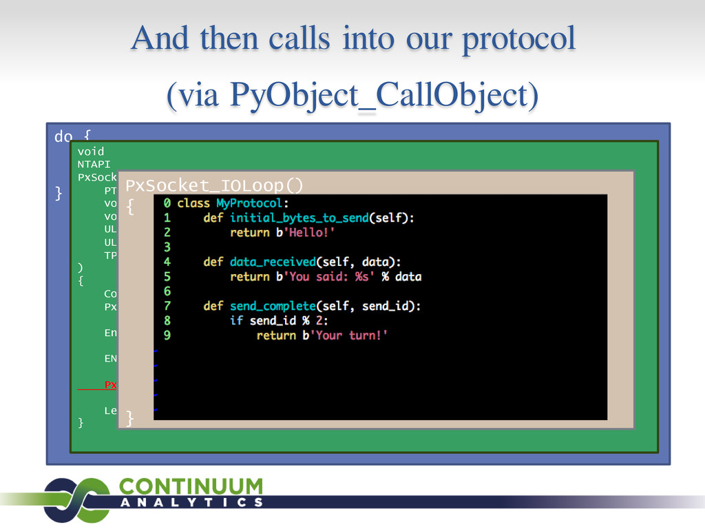 And then calls into our protocol (via PyObject_...