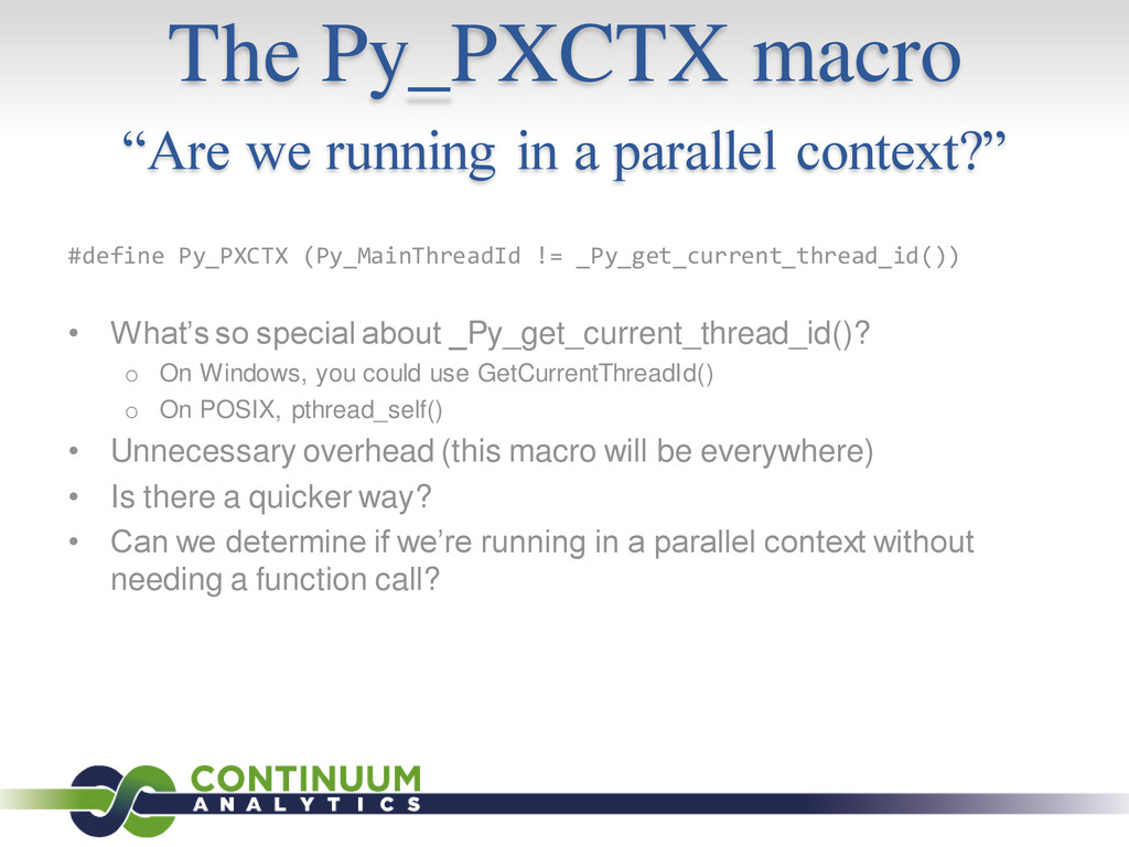 """The Py_PXCTX macro """"Are we running in a paralle..."""