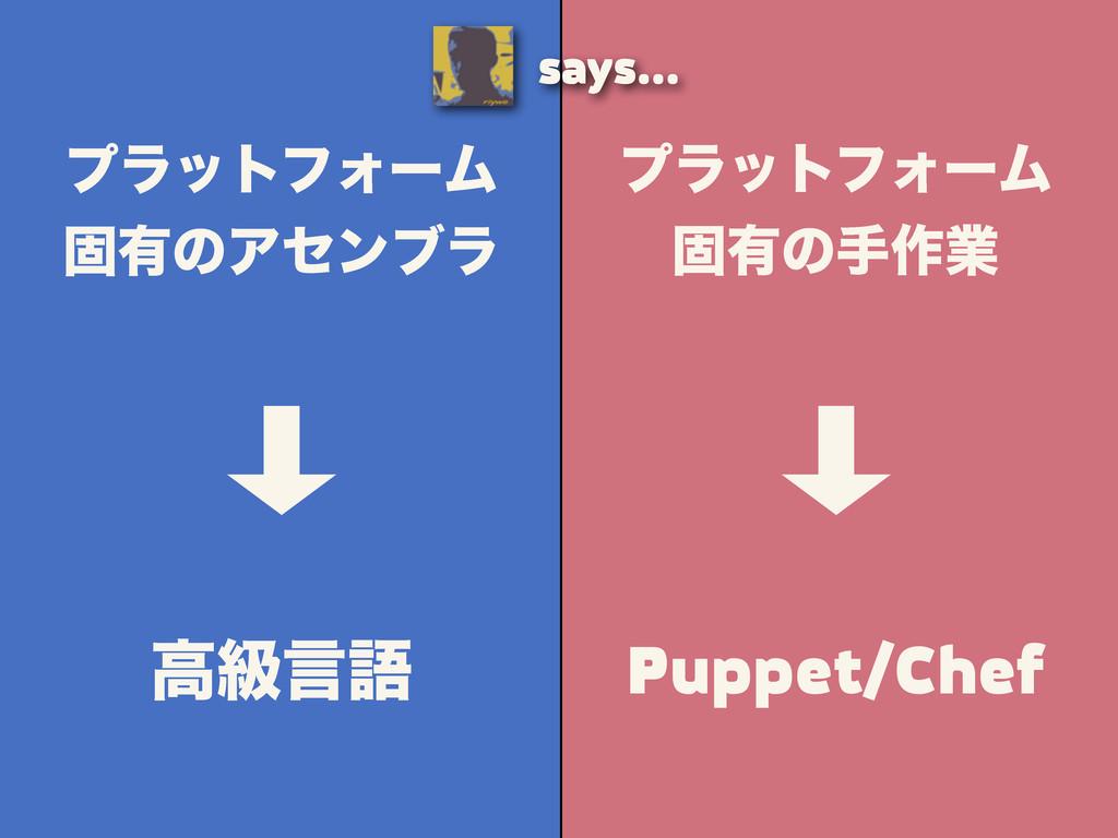 ϓϥοτϑΥʔϜ ݻ༗ͷख࡞ۀ Puppet/Chef ϓϥοτϑΥʔϜ ݻ༗ͷΞηϯϒϥ ߴ...