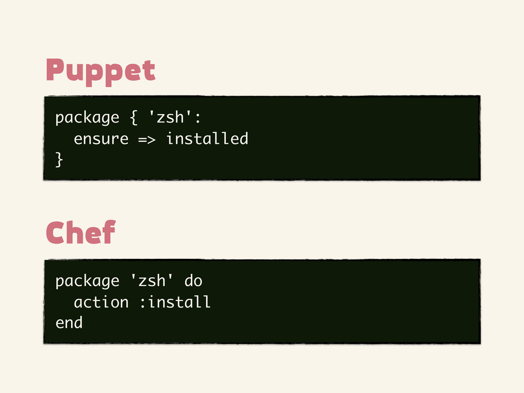 package { 'zsh': ensure => installed } Puppet p...
