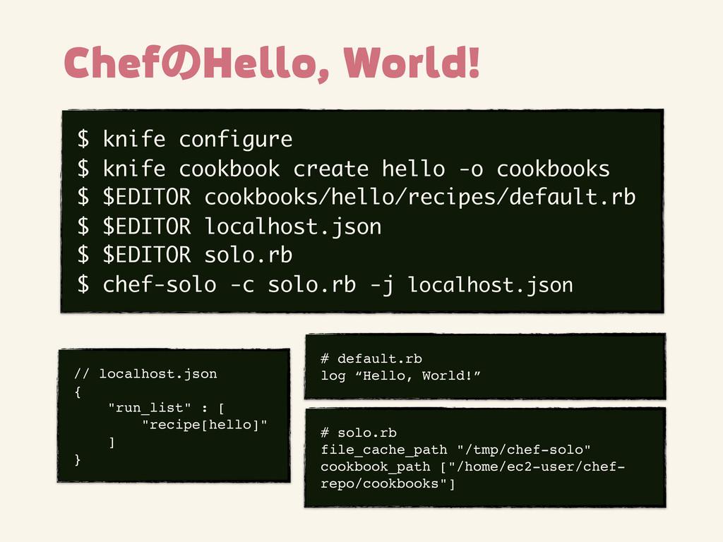$ knife configure $ knife cookbook create hello...