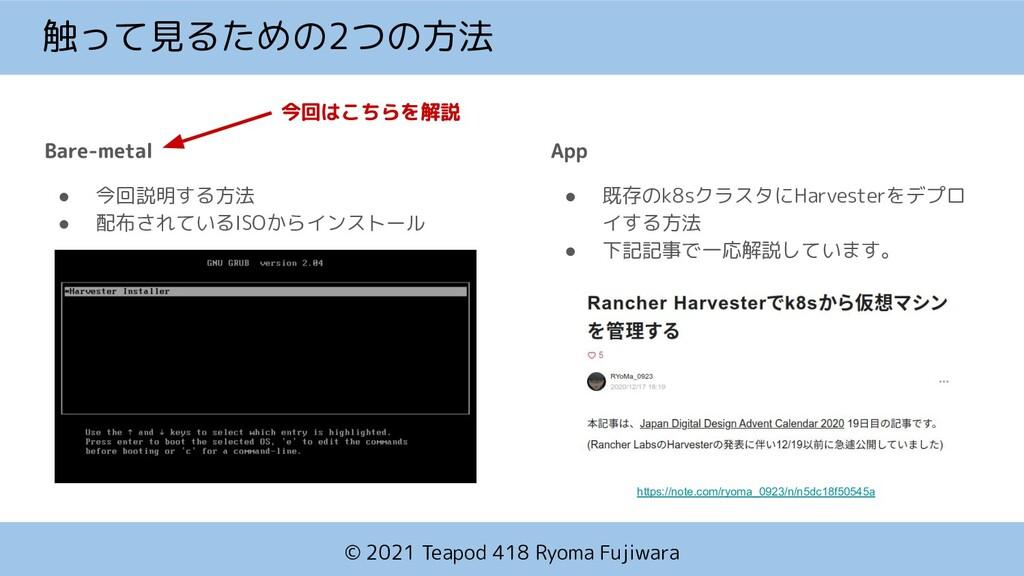 © 2021 Teapod 418 Ryoma Fujiwara 触って見るための2つの方法 ...
