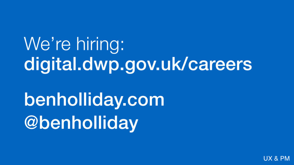 @benholliday UX & PM We're hiring: