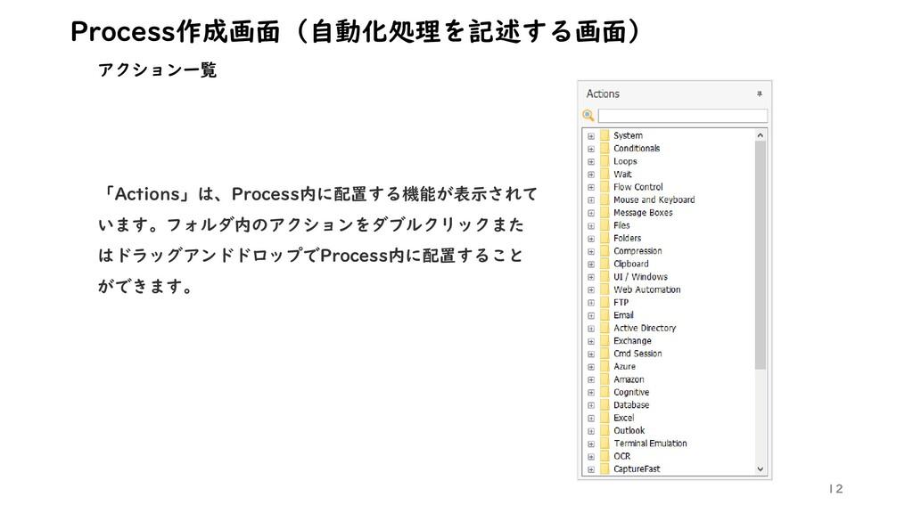 12 Process作成画面(自動化処理を記述する画面) アクション一覧 「Actions」は...
