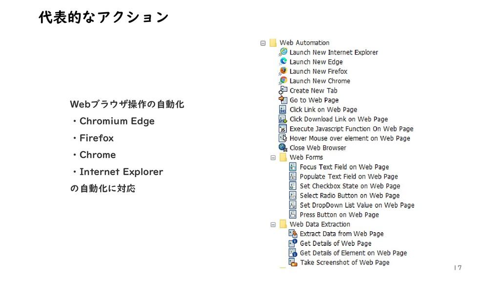 17 代表的なアクション Webブラウザ操作の自動化 ・Chromium Edge ・Fire...