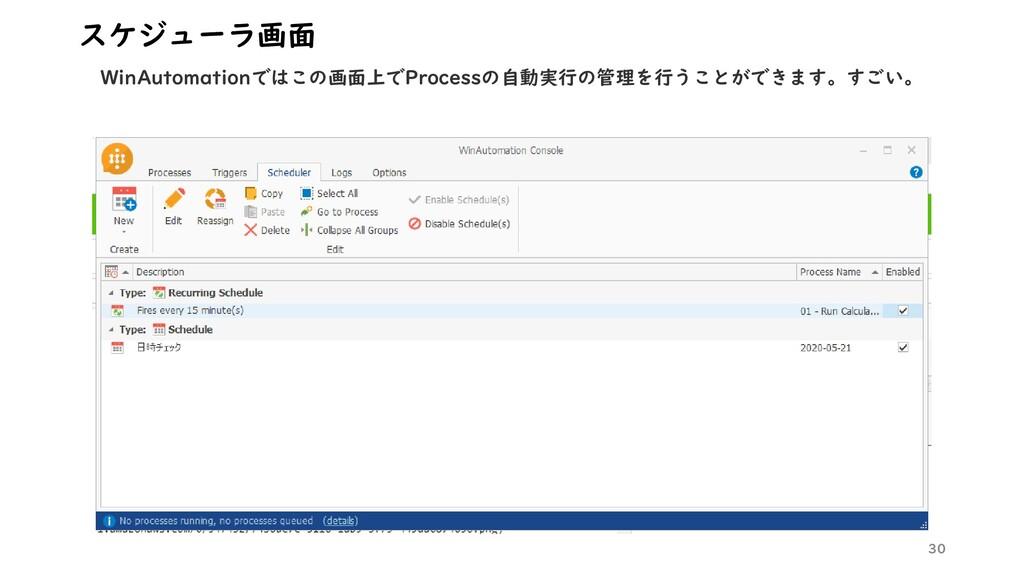 30 スケジューラ画面 WinAutomationではこの画面上でProcessの自動実行の管...