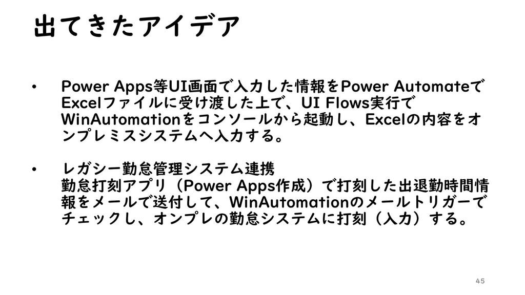 出てきたアイデア • Power Apps等UI画面で入力した情報をPower Automat...
