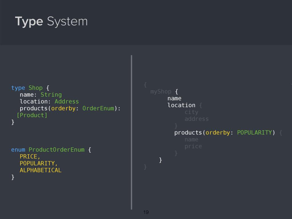 Type System enum ProductOrderEnum { PRICE, POPU...