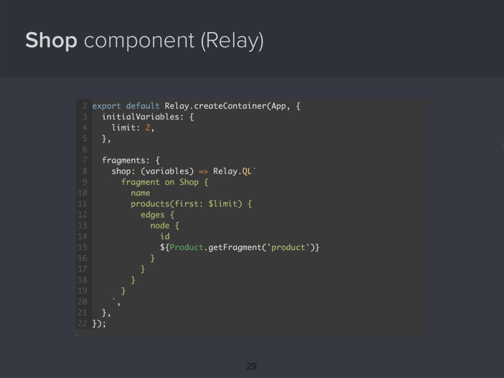 Shop component (Relay) { 29